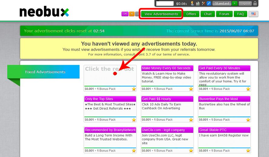 Neobux - klikanie płatnych reklam