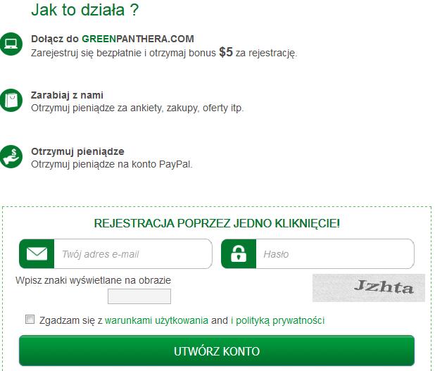 Greenpanthera - bezpłatna rejestracja i bonus na start