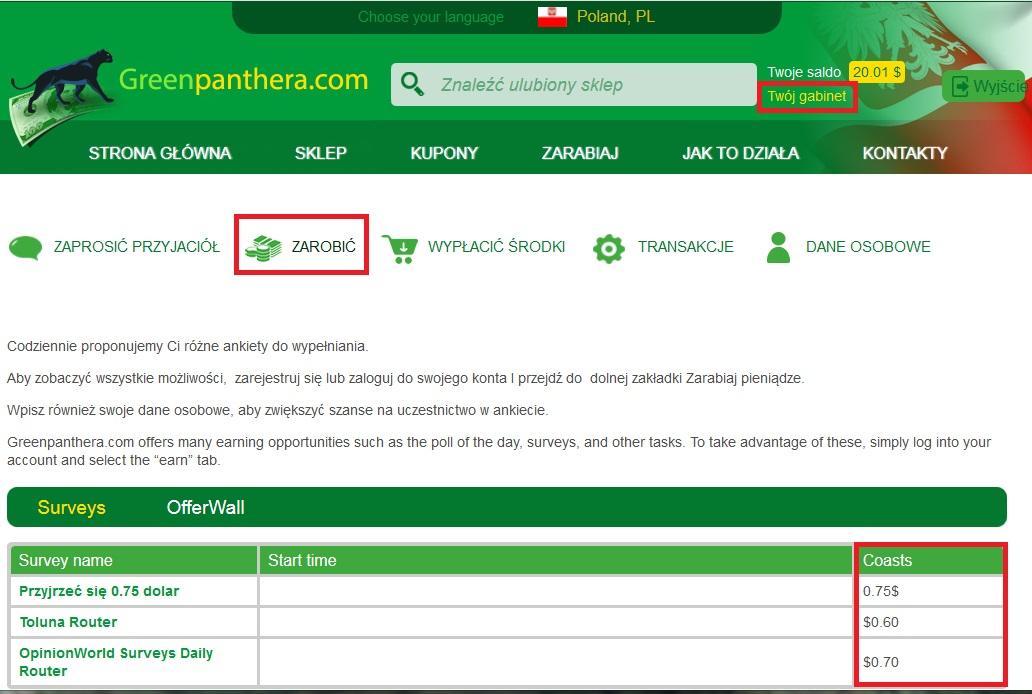 Greenpanthera - jak zarabiać?